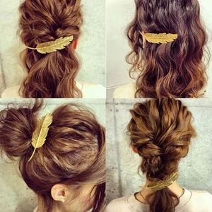 🎉 New Gold Plated Feather Hair Clip